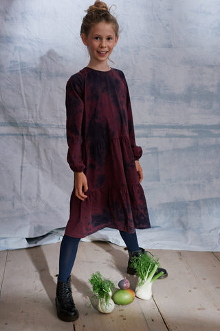 Trine Kleid in navy und dark plum Batik