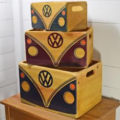VW Wooden Storage Crates - VW Fronts Set of 3