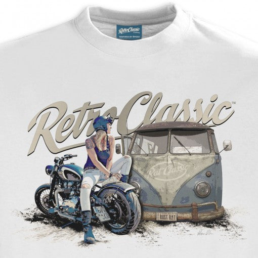 Women's Retro Classic Aircooled Camper & Custom Motorcycle
