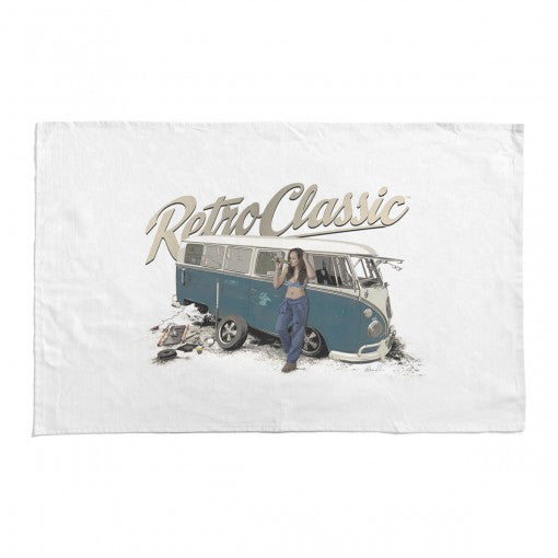 RetroClassic Tea Towel - 'Break Time' Split Screen Camper & Chloe - Cool VW Stuff  - 1