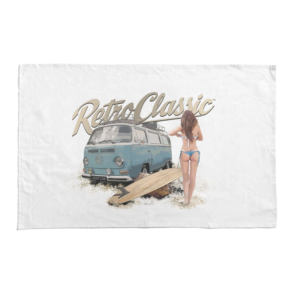 RetroClassic Tea Towel - Surf Chick & Camper 02 - Cool VW Stuff  - 1