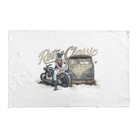 RetroClassic Tea Towel - Rat Classics Aircooled Camper & Motorcycle - Cool VW Stuff  - 1