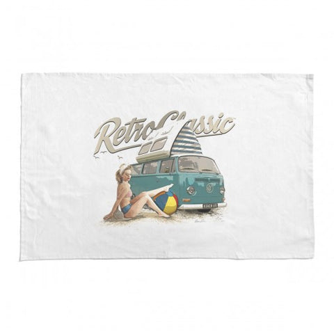 RetroClassic Tea Towel - Beach Life Camper Van & Heather Valentine - Cool VW Stuff  - 1
