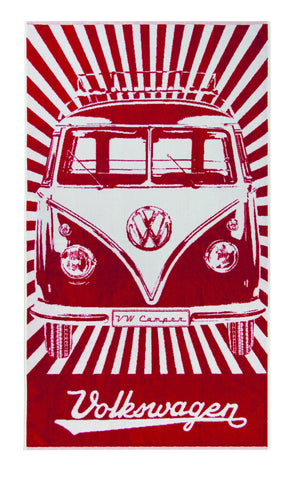 VW Bus Beach Towel - Red - Cool VW Stuff