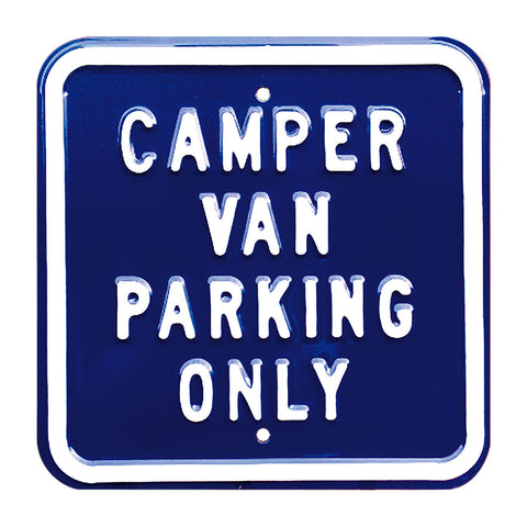 Campervan Parking Only Steel Sign - Blue