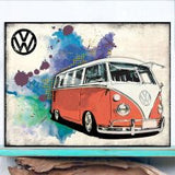 VW Camper Grunge - Red Metal Wall Sign - Cool VW Stuff  - 2