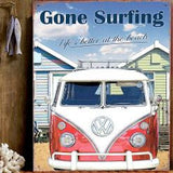 VW Gone Surfing Metal Wall Sign - Cool VW Stuff  - 2
