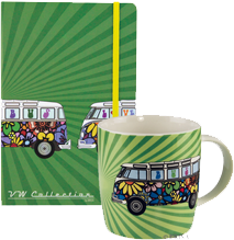 Flower Power Bus Notebook & Coffee Mug Gift Set - Cool VW Stuff  - 1