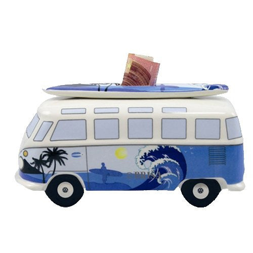 VW Bus Money Bank with Surfboard-Surf