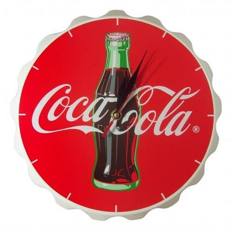 Coca-Cola Vintage Bottle Cap-shaped Wall Clock - Bright Red Wood 12""