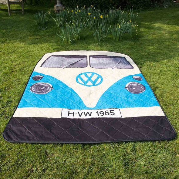 VW Blue Bus Picnic Rug & Blanket