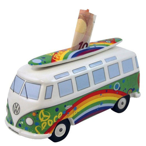VW Bus Money Bank with Surfboard-Peace & Love