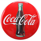 "Coca-Cola Coke Button 16"" x 1"" Sign Vintage Contour Bottle"