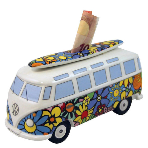 VW Bus Money Bank with Surfboard-Flower Power