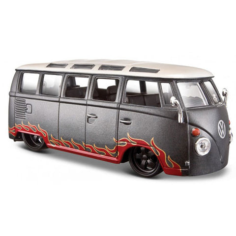 "Maisto 1/24 Scale ""Outlaws"" VW Samba Bus Grey Diecast"