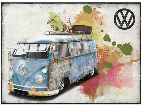 VW Camper Aged Grunge Metal Wall Sign - Cool VW Stuff  - 1