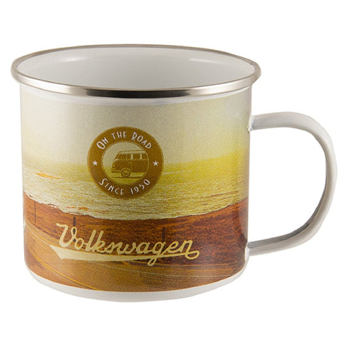 VW Volkswagen Bus Samba Enamel Coffee Mug-Beach Life - Cool VW Stuff