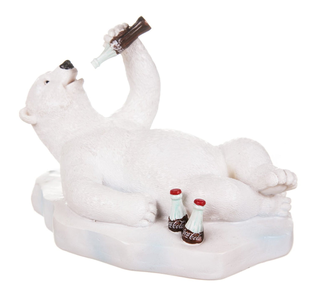 Coca-Cola Polar Bear Laying on Ice Resin Figurine