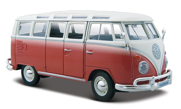 Volkswagen 21 Window Samba Van 1/25 Red - Maisto Diecast Model - Cool VW Stuff  - 1
