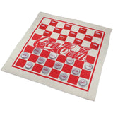 Vintage Coca-Cola Fabric Checkerboard With Red And Silver Coke Bottle Caps