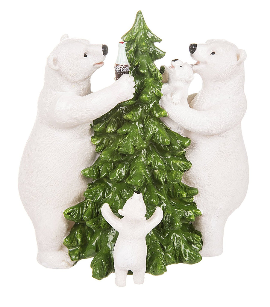 Coca Cola Polar Bear Family And Christmas Tree Figurine - Cool VW Stuff  - 1