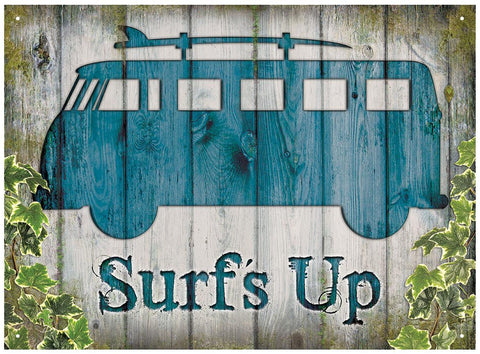 VW Camper Surf's Up Metal Wall Sign - Cool VW Stuff  - 1