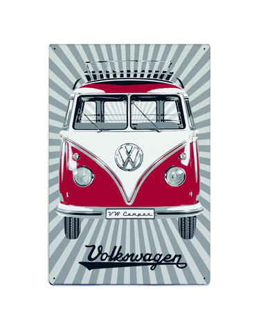 Volkswagen Metal Sign - Red Split Window VW Bus