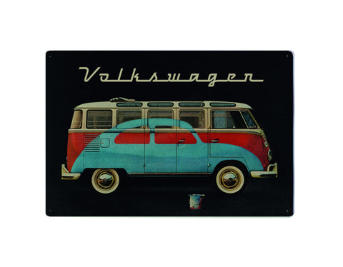 Volkswagen Metal Sign - Black Beetle & Bus