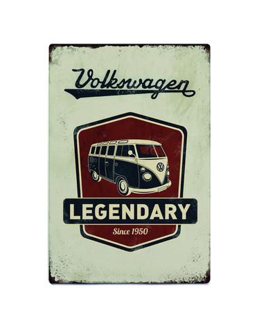 Volkswagen Metal Sign - Vintage Legendary VW Gray Logo