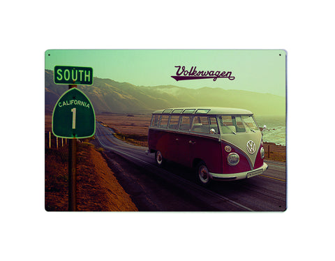 Volkswagen Metal Sign - Highway 1 VW Bus