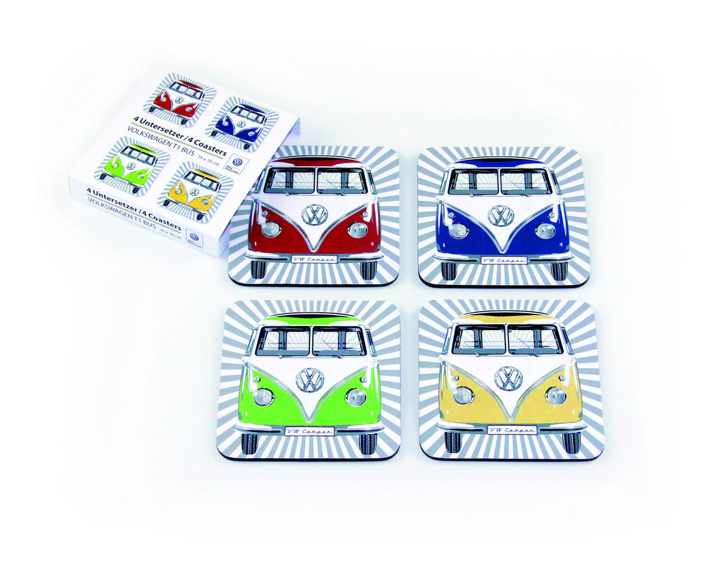 VW Bus 4-Piece Coaster Set - Colorful Fronts