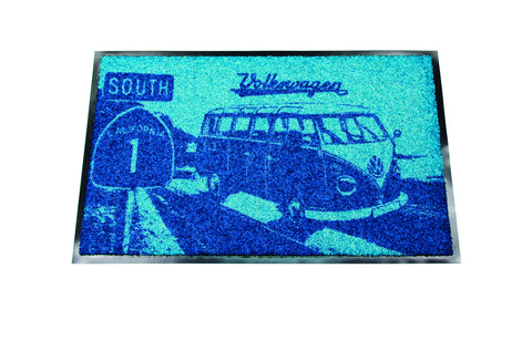 VW T1 Bus Doormat - Highway 1 Blue