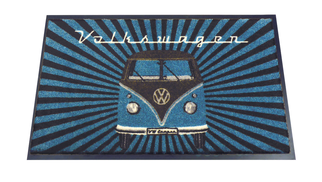 VW T1 Bus Doormat - Samba Stripes/Petrol