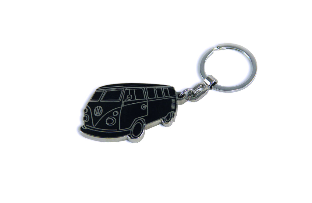 VW T1 Bus Enamel Key Ring - Black - Cool VW Stuff