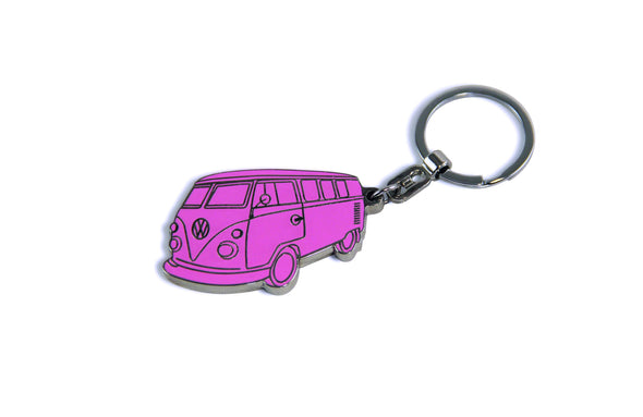 VW T1 Bus Enamel Key Ring - Pink