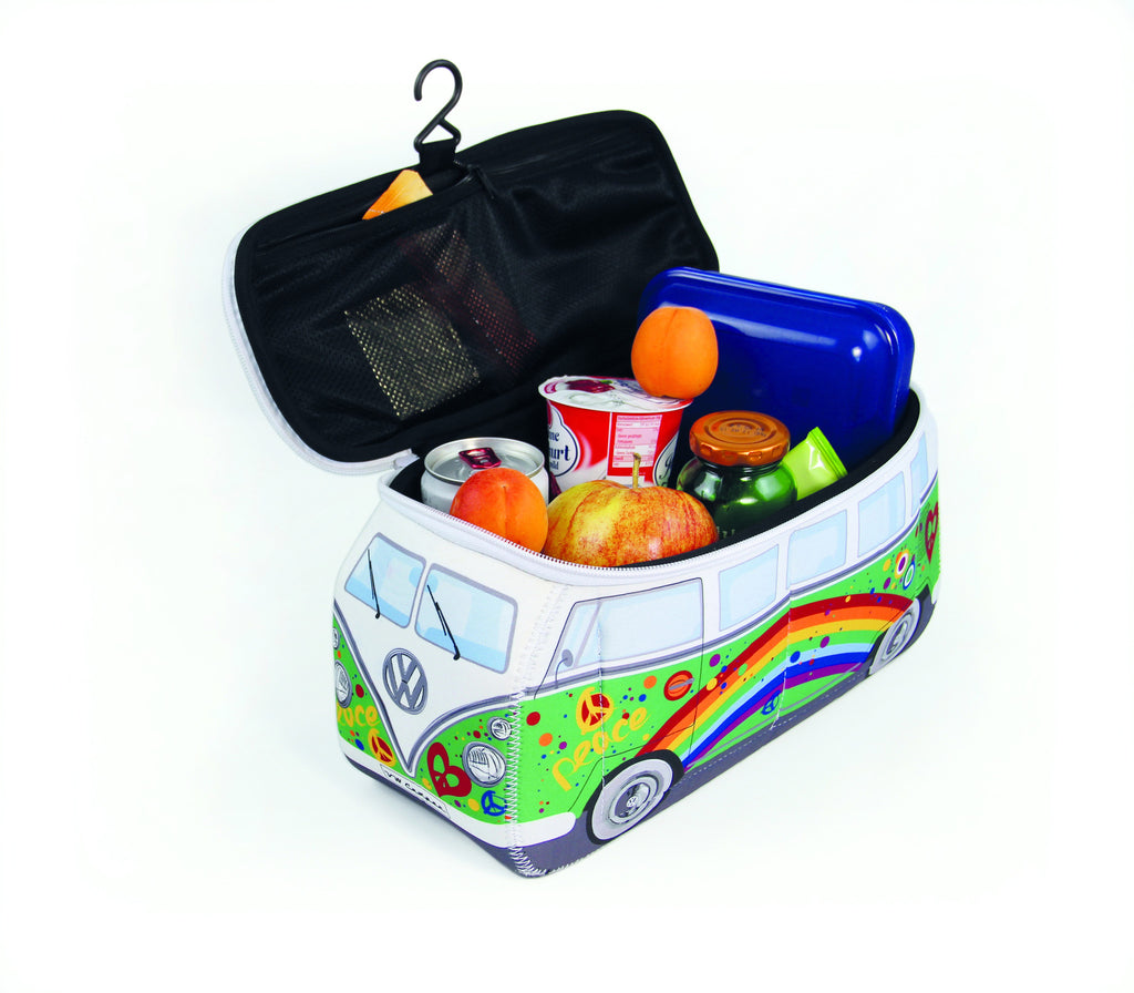 Volkswagen Bus Neoprene Toiletry/Lunch Bag-Large Peace Green