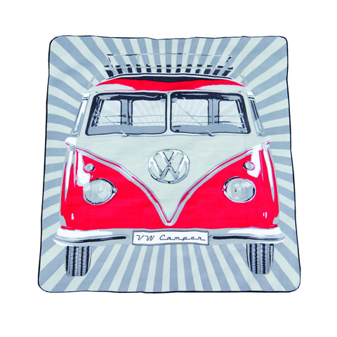 Volkswagen T1 Picnic Rug with Carrying Bag-Red - Cool VW Stuff  - 1