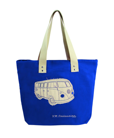 VW Bus Canvas Tote Bag-Dark Blue - Cool VW Stuff