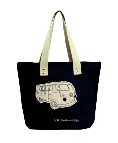 VW Bus Canvas Tote Bag-Black - Cool VW Stuff