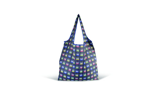 VW Bus Foldable Polyester Shopper Bag - Multi Colored T1 Bus Fronts