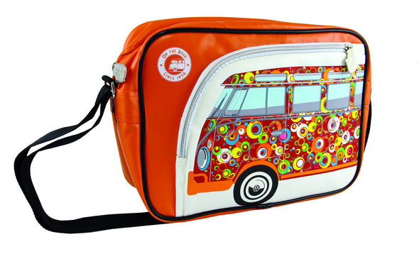 Camper Deluxe Shoulder Bag-Orange Bus Spirals