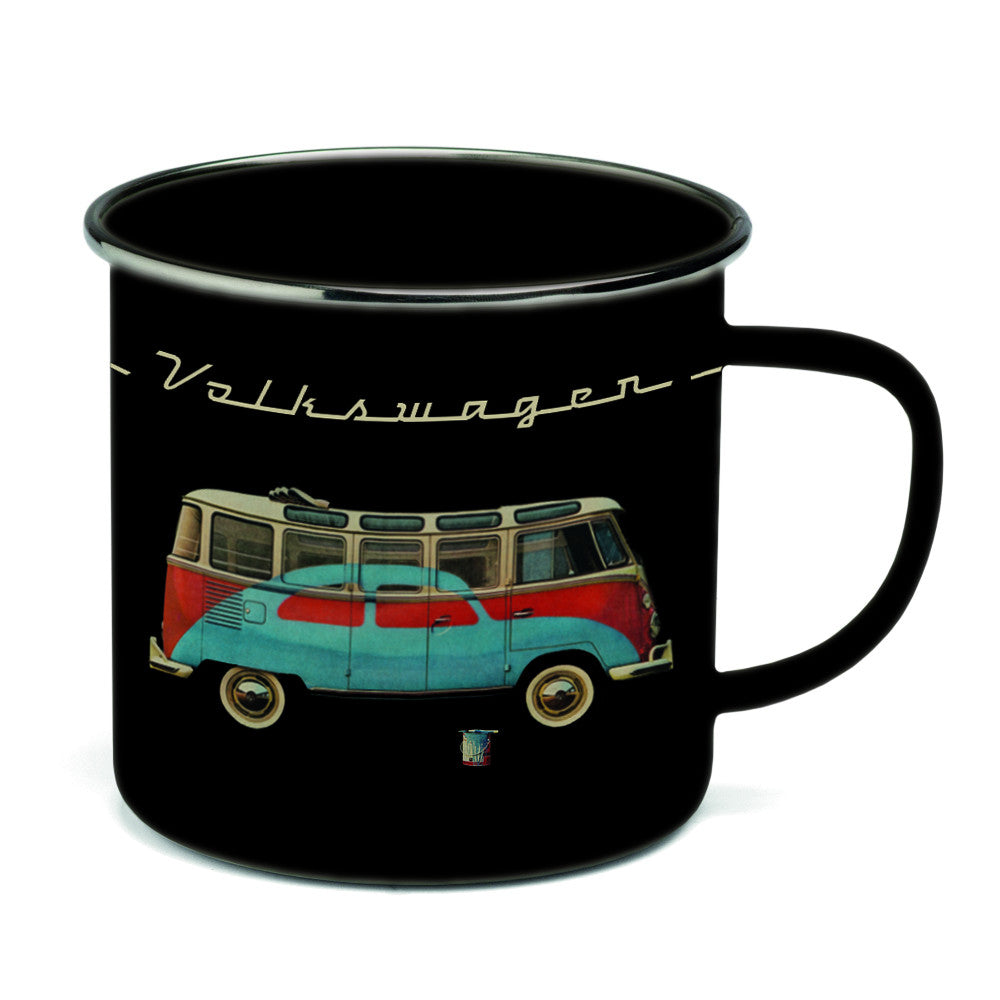 Volkswagen Coffe Mug Enamel-Retro Bus/Beetle VW Collection by Brisa BUTA12