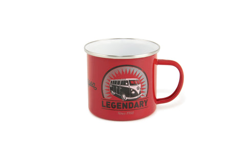 VW Bus Enamel Coffee Mug - Red Vintage Logo