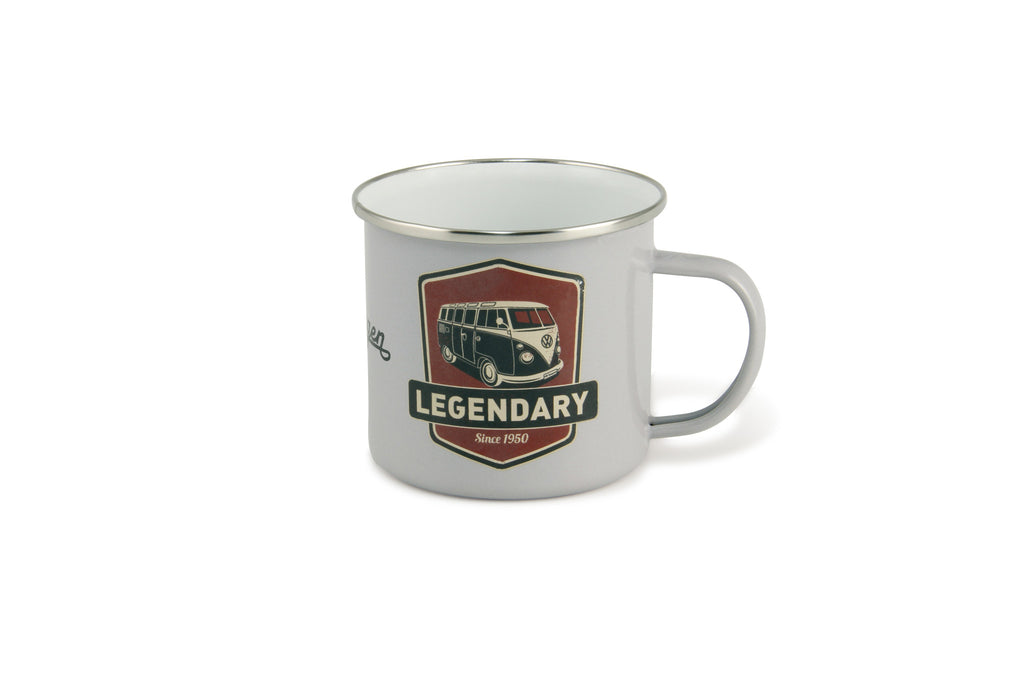 VW Bus Enamel Coffee Mug - Gray Vintage Logo