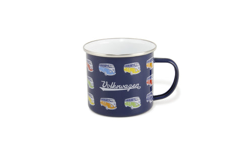 VW Bus Enamel Coffee Mug - Blue Bus on Parade