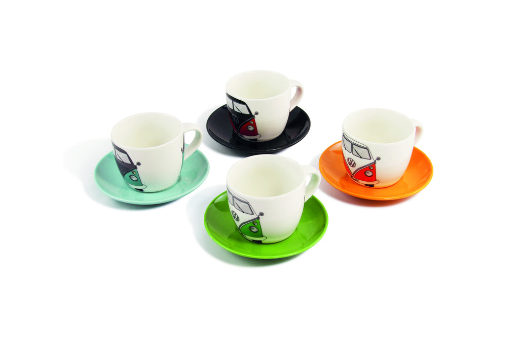 VW Bus 4-Piece Espresso Cup Set with Saucers