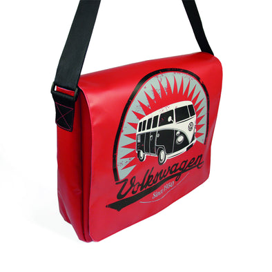 Officially Licensed Volkswagen Bus Tarpaulin Shoulder Bag-Red