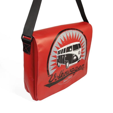 Officially Licensed Volkswagen Bus Tarpaulin Messenger Bag-Red - Cool VW Stuff  - 1
