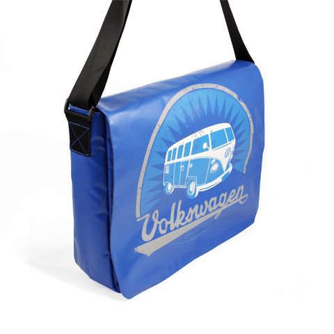 Officially Licensed Volkswagen Bus Tarpaulin Messenger Bag-Blue - Cool VW Stuff  - 1