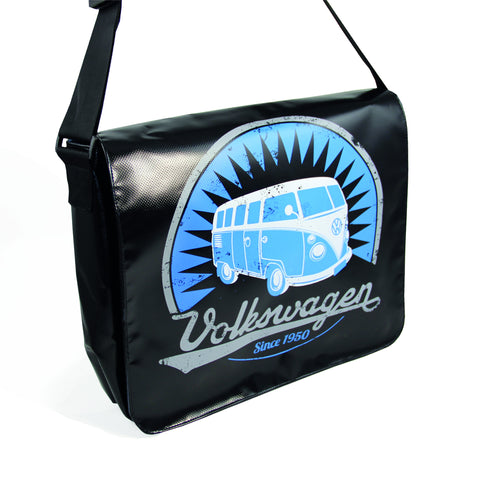 Officially Licensed Volkswagen Bus Tarpaulin Messenger Bag-Black - Cool VW Stuff  - 1